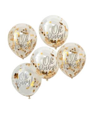 """Lateksballonger / Konfettiballonger (5stk): """"Oh Baby"""" - 30cm"""