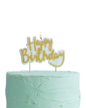 """Kakelys: """"Happy Birthday"""" - Gull - 10 x 7cm"""