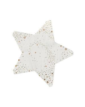 Servietter (16stk): Stjerneformet - Med gullstjerner - 17cm