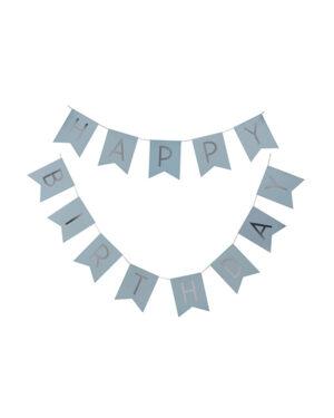 """Banner / Girlander: """"Happy Birthday"""" - Blå & Sølv - 2,5m"""