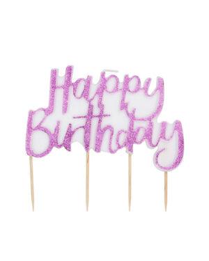 """Kakelys: """"Happy Birthday"""" - Rosa - 12cm"""