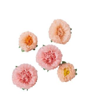 Pom Poms / Papirblomster (5stk): Fersken & rosa i forskjellige størrelser