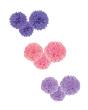 Hengende Dekor / Pomponger (3stk): Flere farger - 40,6cm