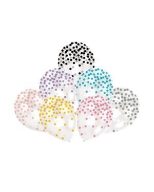 Lateksballonger / Konfettiballonger (6stk): Flere farger - 27,5cm