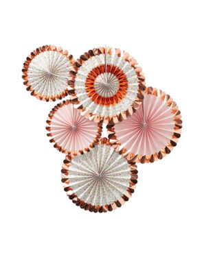 Vifter (5stk): Blomster med rosegull kant - 38-28cm