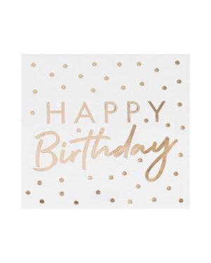 "Servietter (16stk): ""Happy Birthday"" - Gull folie - 16,5cm"