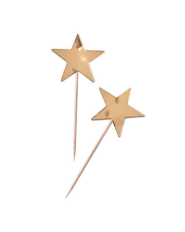 Kaketopp Muffinstopp (10stk): Gull stjerne - 11,5 x 5cm