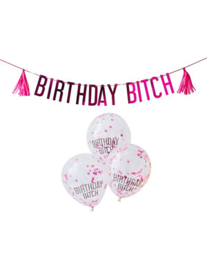 "Banner / Girlander / Tassels & Ballongdekor: ""Birthday Bitch"" - Rosa - 2,5m"