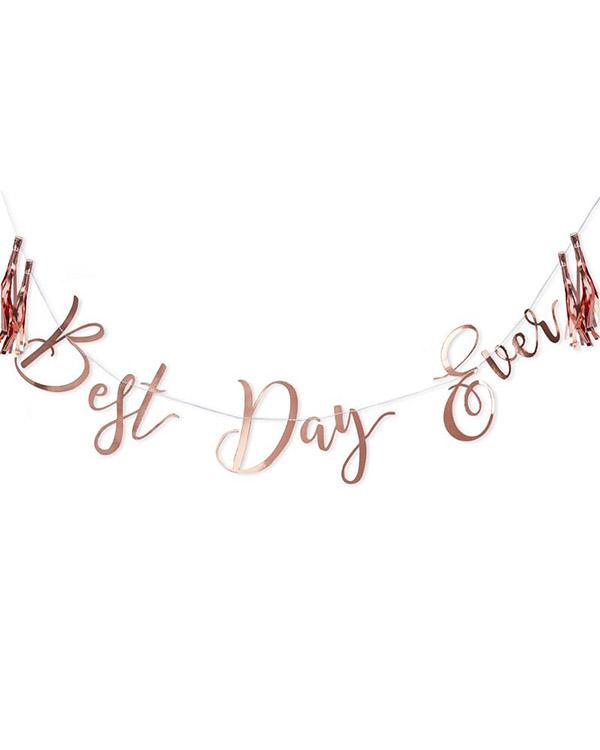 """Banner / Girlander: """"Best Day Ever"""" - Rosegull - 1,5m"""