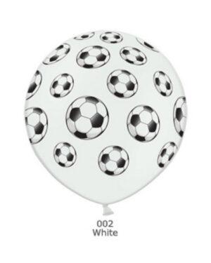 Lateksballong: Fotballer - 90cm - Hvit (Pastel)