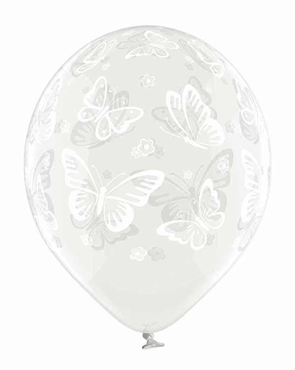 Lateksballong: Sommerfugler - 30cm - Crystal - Per stk