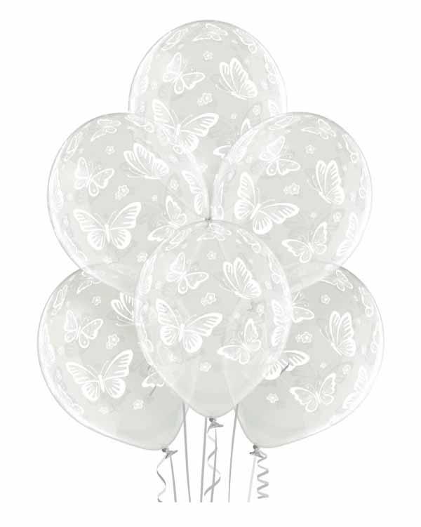 Lateksballonger (50stk): Sommerfugler - 30cm - Crystal
