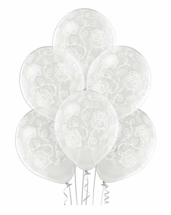 Lateksballonger (6stk): Roser - 30cm