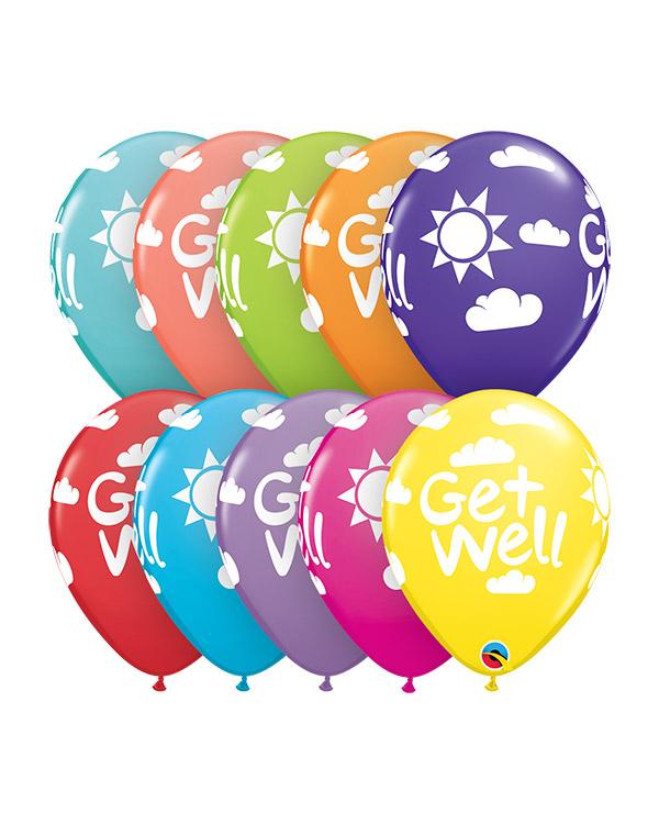 """Lateksballong: """"Get Well"""" - Flere farger - 28cm - Per stk"""