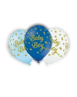 """Lateksballong: """"Baby Boy"""" med prikker - Flere farger - 30cm - Per stk"""