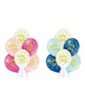 """Lateksballonger (6stk): """"Baby Girl / Boy"""" med prikker - 30cm"""