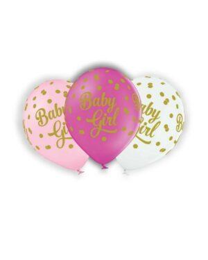 """Lateksballong: """"Baby Girl"""" med prikker - Flere farger - 30cm - Per stk"""