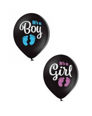 """Lateksballong: """"It's a Boy / Girl"""" - 30cm - Blå (Pastel) - Per stk"""