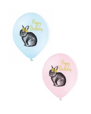 Lateksballong: Happy Birthday & Kanin - Flere farger - 30cm - Per stk