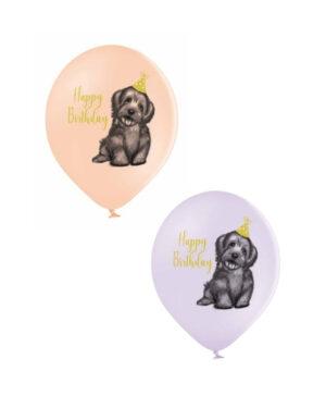Lateksballong: Happy Birthday & Hund - Flere farger - 30cm - Per stk