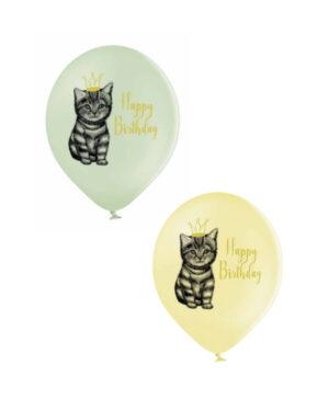 Lateksballong: Happy Birthday & Katt - Flere farger - 30cm - Per stk