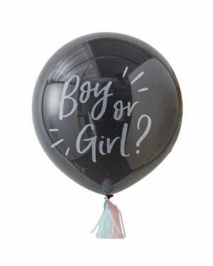 """Lateksballong: """"Boy or Girl?"""" med tassels & konfetti - 90cm"""