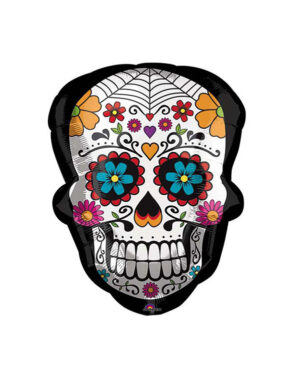 Folieballong: Mexican Skull with flowers - 61cm