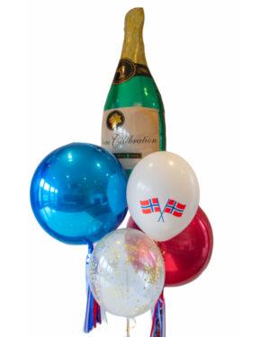 Ballongbukett: 17. mai Rødt, hvit & blått med Champagneflaske folieballong